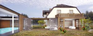 Połączenie starego z nowym – basen i rozbudowa tradycyjnego domu krytego gontem