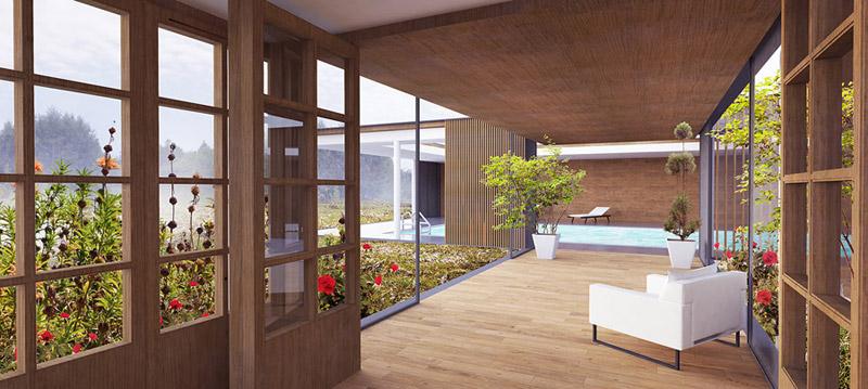 Projekt basenu wraz z rozbudową domu. Autorzy: BXBstudio Bogusław Barnaś
