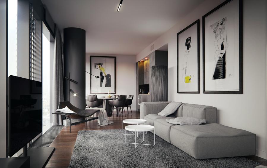 Wnętrza apartamentu w wieżowcu COSMOPOLITAN w Warszawie. Projekt wnętrz: KUOO/ARCHITECTS
