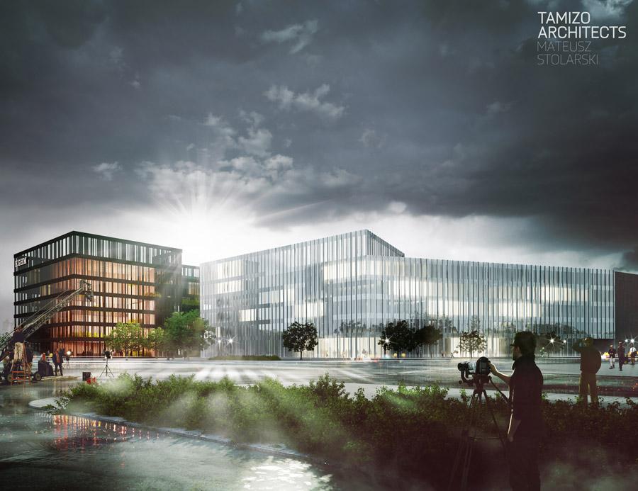 Zespół budynków biurowo-usługowych KGHM TFI we Wrocławiu. Projekt: NOW Biuro Architektoniczne sp.z o.o., Tamizo Architects Mateusz Stolarski