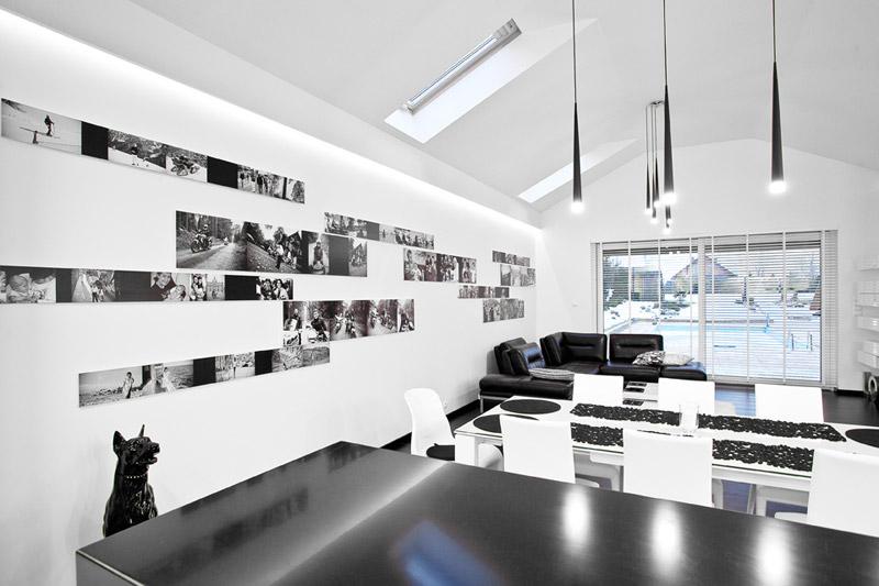 Wnętrza apartamentu Black & White w Bielsko-Białej. Projekt: Kliff Design