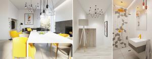 Wnętrza domu dla 4-osobowej rodziny – Minimalistyczne połączenie bieli i szarości