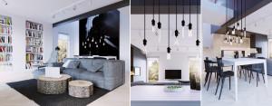 Wnętrza domu w Lublinie projektu 081 Architekci – kontrastowe zestawienie bieli i czerni