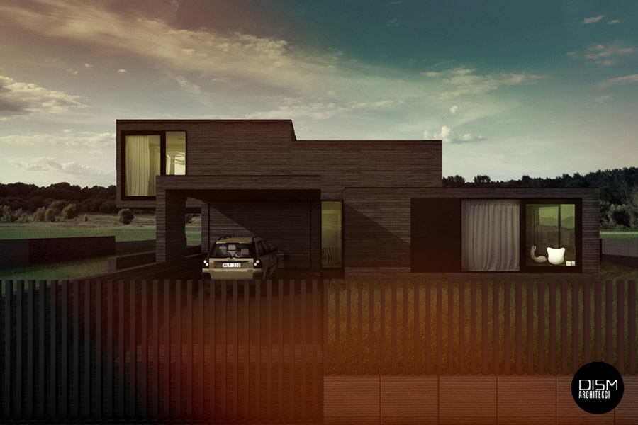 Dom z płaskim dachem. Projekt: DISM Architekci