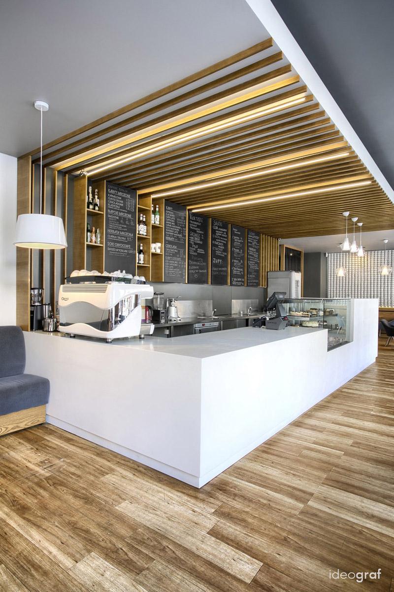 Wnętrza kawiarni Cafe Corner w Gdyni. Projekt: Biuro Architektoniczne Ideograf Paulina Czurak