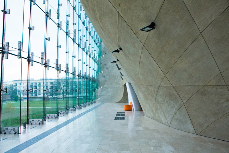 Muzeum Historii Żydów Polskich, Warszawa. Architektura: Rainer Mahlamäki – Lahdelma & Mahlamäki Architects
