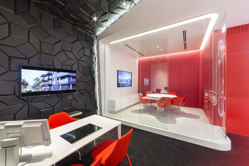 Biuro sprzedaży firmy Profbud. Projekt wnętrz showroomu: Robert Majkut Design