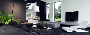 Kontrastowe wnętrza domu w Grójcu projektu studia Tamizo Architects Mateusza Stolarskiego