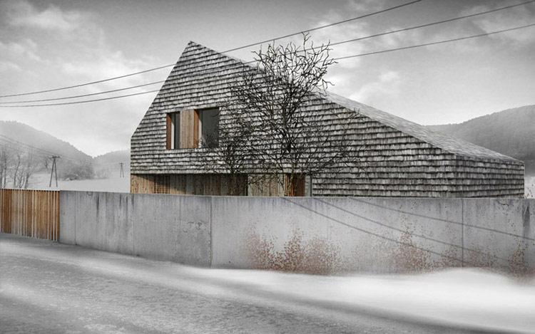 Dom pokryty gontem w Bielsku Białej. Projekt: Interurban