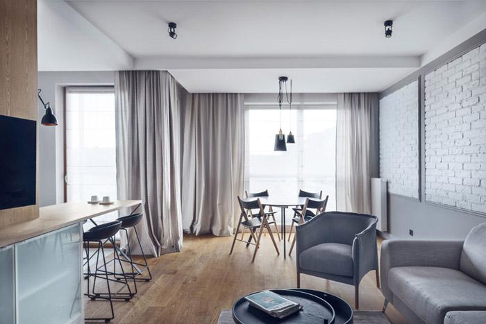 Mieszkanie wakacyjne na osiedlu Nadmorski Dwór w Gdańsku. Projekt wnętrz: JT Grupa