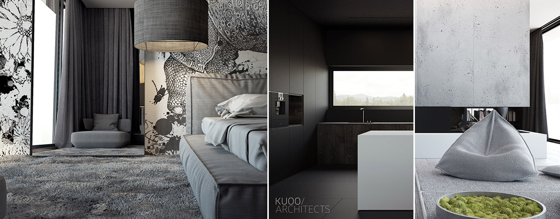 Projekt wnętrz domu jednorodzinnego w Łodzi. Autorzy: KUOO/ARCHITECTS