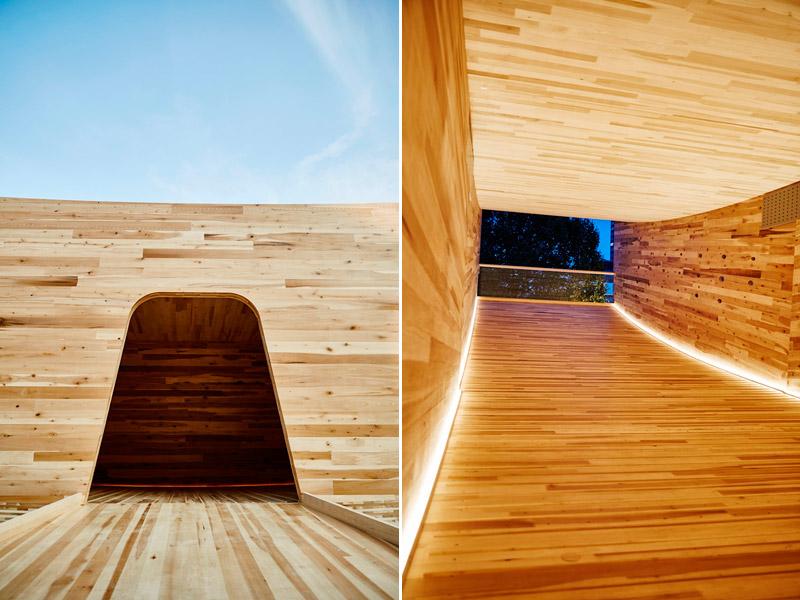 The Smile - Instalacja z drewna klejonego, Londny. Projekt: Alison Brooks Architects