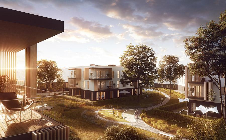 """Osiedle mieszkalne """"Nova Królikarnia"""", Stary Mokotów, Warszawa. Projekt: Kuryłowicz & Associates Architecture Studio"""