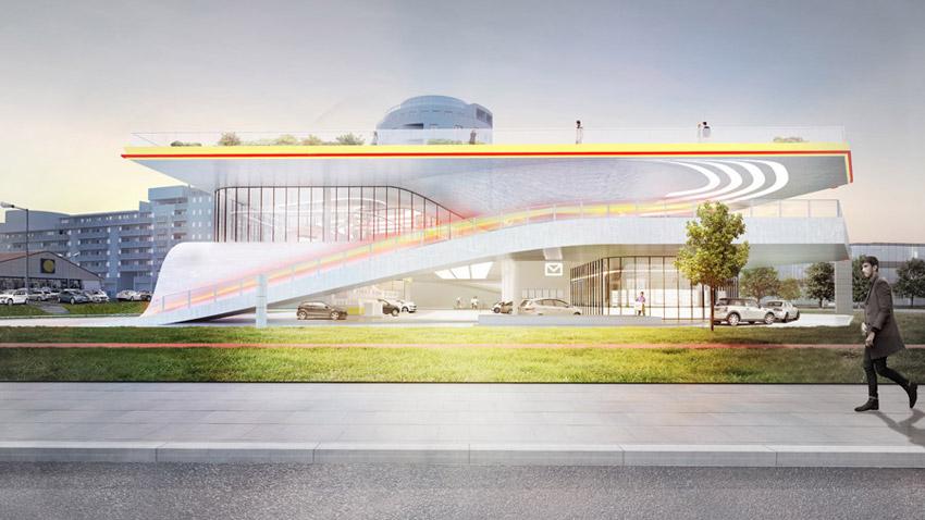 Stacja Paliwowa Przyszłości w Warszawie. Projekt: KAMJZ Architects