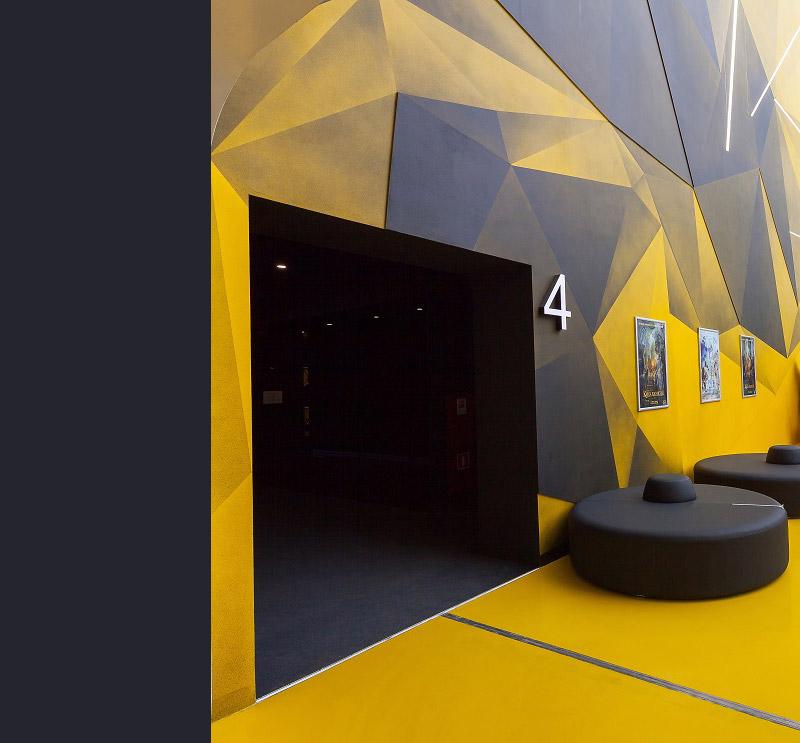 Wnętrza kina Mori Cinema-IMAX w Moskwie. Projekt wnętrz: Robert Majkut Design