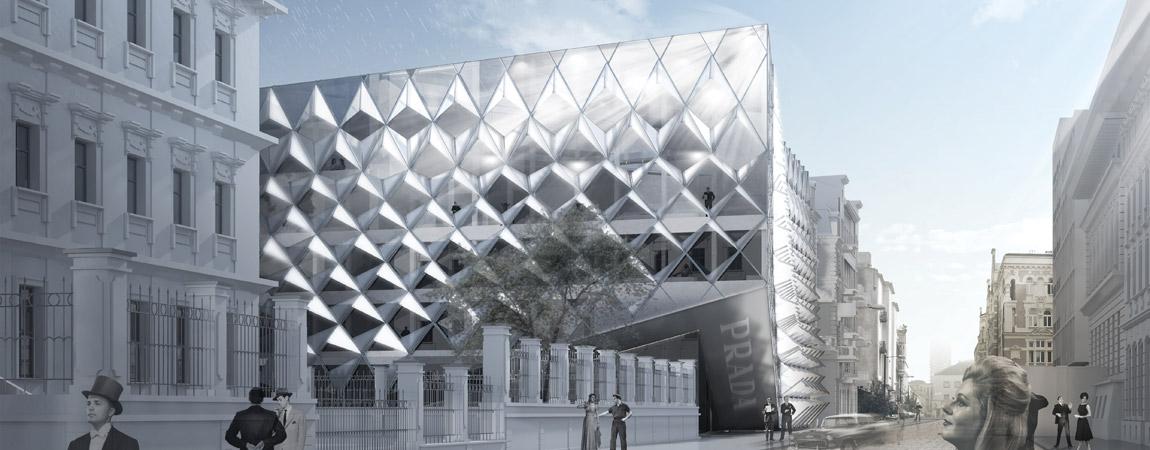Dyplomy Architektury: Domy Mody Prada w Warszawie projektu Aleksandra Łapińskiego
