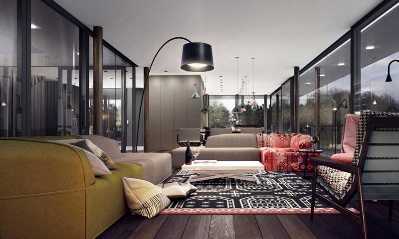 Wnętrza domu na Mazurach. Projekt: Mobius Architekci