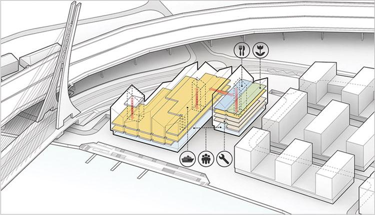 Dyplomy Architektury: ZŁOTY ŁASZT - Centrum innowacji aktywności społecznej w Szczecinie. Autor: mgr inż. arch. Hubert Piekarczyk