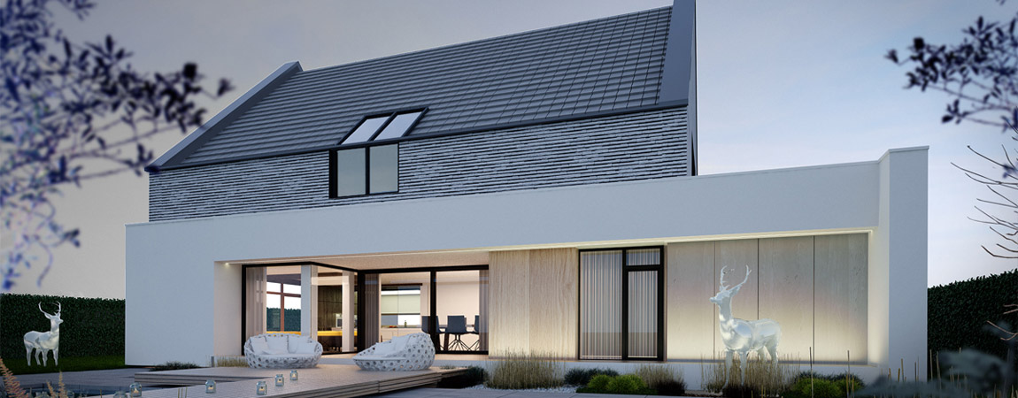 """Dom """"2w1"""" - willa w wiejskim krajobrazie. Projekt: JABRAARCHITECTS   Tomasz Zaleski"""