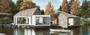 Wykończony kamieniem dom na Mazurach projektu studia LOMO Design