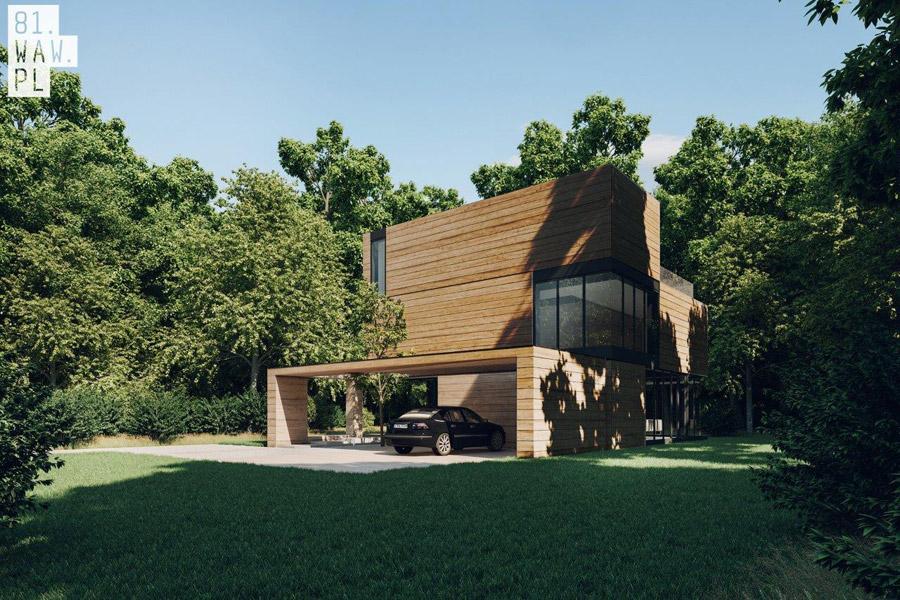 Dom Yenga - Inspirowany otoczeniem projekt domu pracowni 81.WAW.PL