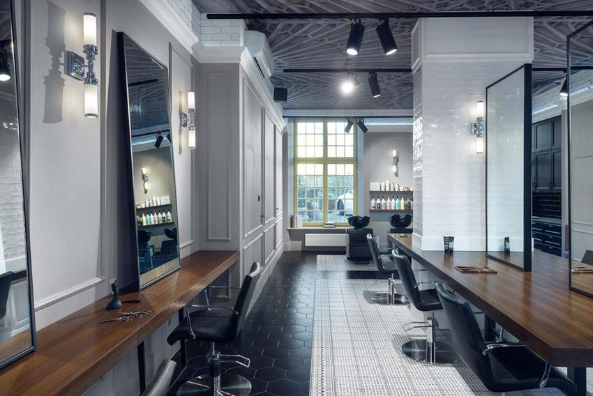 Wnętrza salonu fryzjerskiego D&D w Gdańsku. Projekt: JT Grupa
