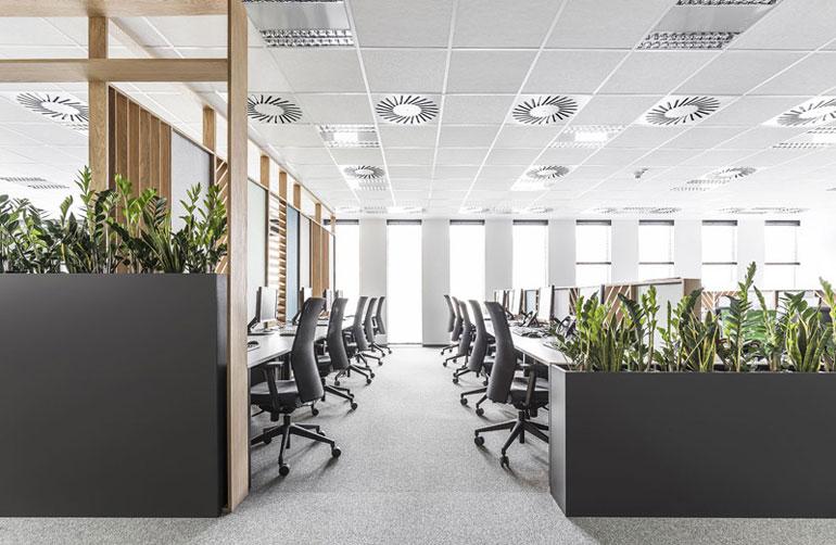 Wnętrza biurowe Call-Center. Projekt: ZONA Architekci