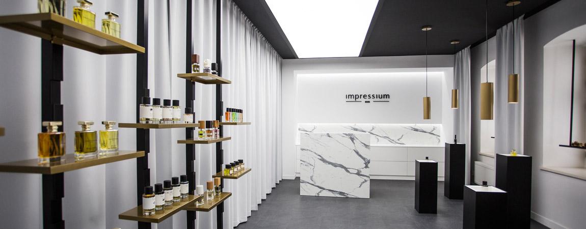 Perfumeria Impressium w Łodzi. Projekt wnętrz: MOOMOO Architects