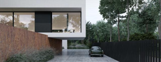 Dom w odcieniach bieli i czerni z kortenową podstawą projektu MOOMOO Architects
