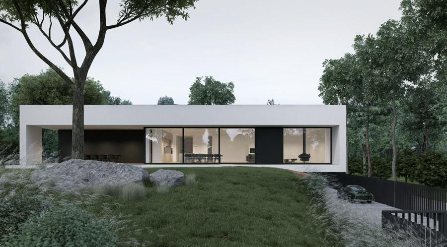 Dom jednorodzinny. Projekt: MOOMOO Architects. Wizualizacje: Marek Golec