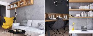 Beton w roli głównej – wnętrza mieszkania w Knurowie projektu Spacja Studio