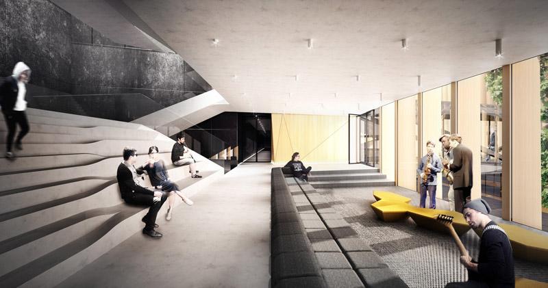 Konkurs na koncepcję nowego zespołu budynków Akademii Muzycznej w Krakowie. II Nagroda: TENTA Architekci + Kiewel/Janus