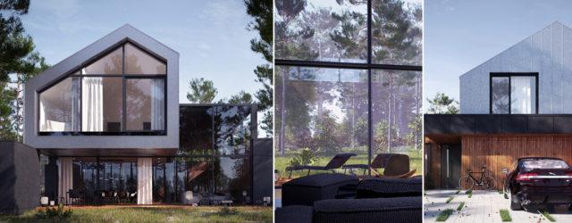 Dom U-kierunkowany z widokiem na Puszczę Kampinoską projektu Z3Z Architekci