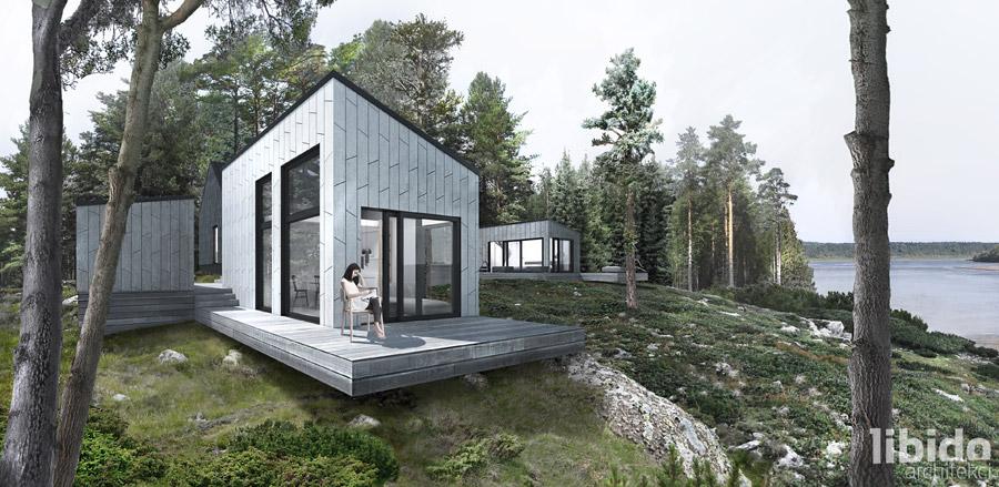 """Zespół domów letniskowych """"Botkyrka Summer House"""". Projekt: Libido Architekci"""