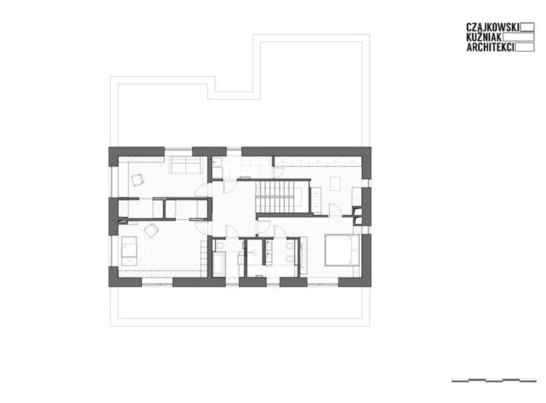 Wnętrza domu jednorodzinnego w Mysłowicach. Projekt wnętrz: Czajkowski Kuźniak Architekci