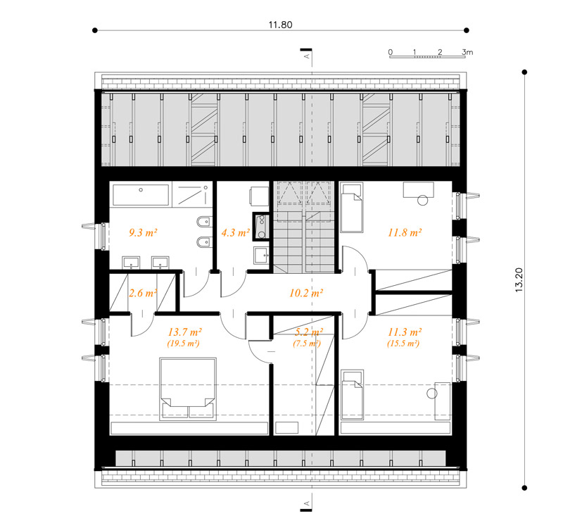 Dom z okapem, Katowice. Projekt: doomo studio architektoniczne