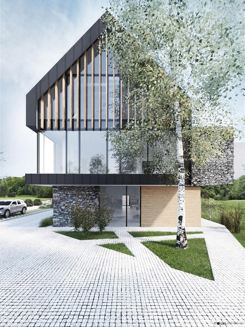Budynek handlowo-biurowy. Projekt: Mokaa Architekci