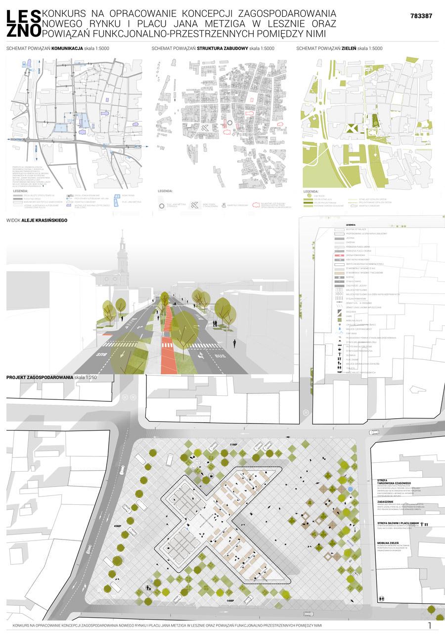 Nowy Rynek i Plac Jana Metziga w Lesznie. I Nagroda w konkursie: Front Architects