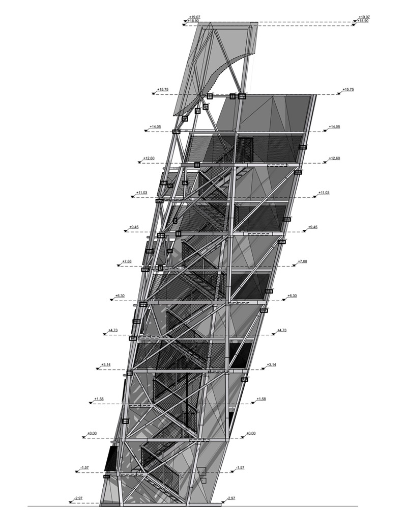 Wieża Widokowa przy Zalewie Bardowskiego w Warszawie. Projekt: RYSY Architekci | Rafał Sieraczyński. Zdjęcia: Piotr Krajewski