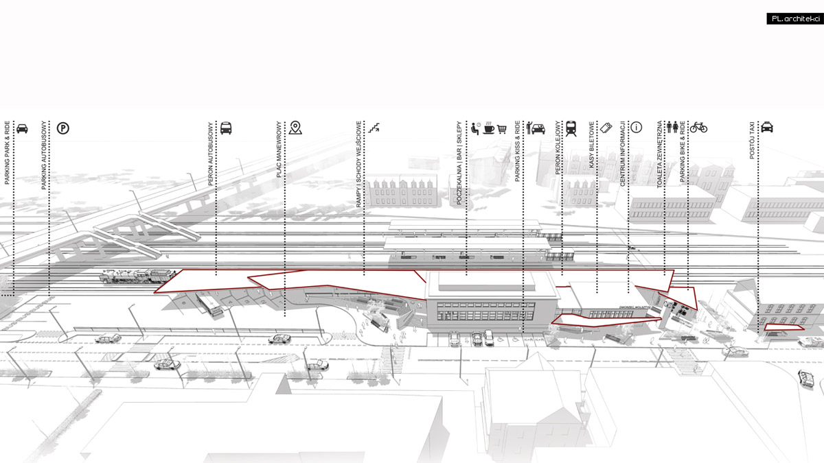 I Nagroda w konkursie na przebudowę dworca w Wolsztynie. Projekt: PL.architekci