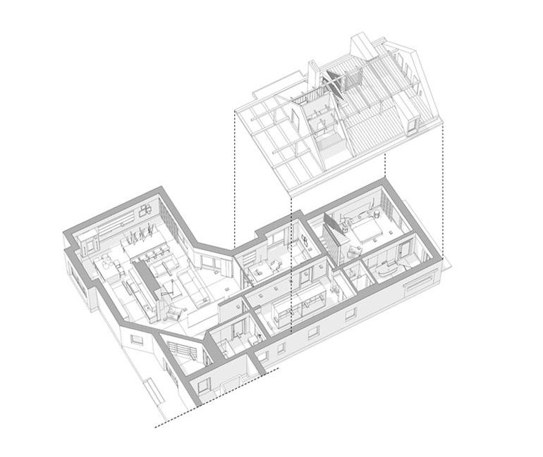 Projekt wnętrz i przebudowy domu. Autorzy: Pracownia OYSTER