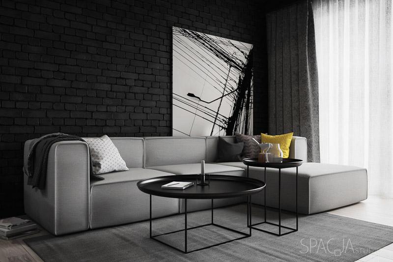 Wnętrza mieszkania w Mysłowicach. Projekt:Spacja Studio