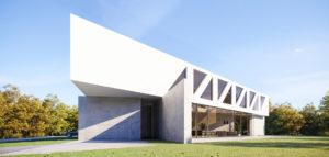 Efektowny 'Dom Most' na trójkątnym planie projektu studia 81.WAW.PL