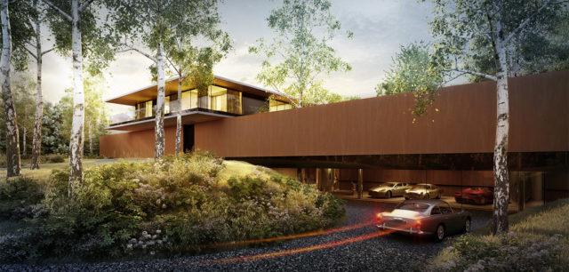 Ukryta w lesie rezydencja z przestrzenią kolekcjonerskich pojazdów projektu studia KMA
