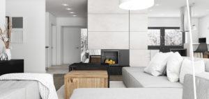 Wnętrza domu w tonacjach bieli i szarości projektu Pracowni Architektury SYMETRIA