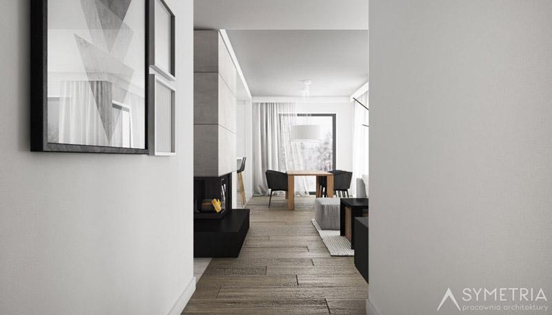 Wnętrze domu w Grodzisku Wielkopolskim. Projekt:SYMETRIA Pracownia Architektury