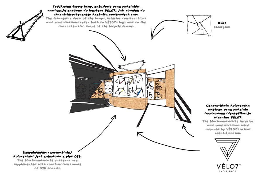 Sklep rowerowy VÈLO7 w Poznaniu. Projekt wnęrz: mode:lina™