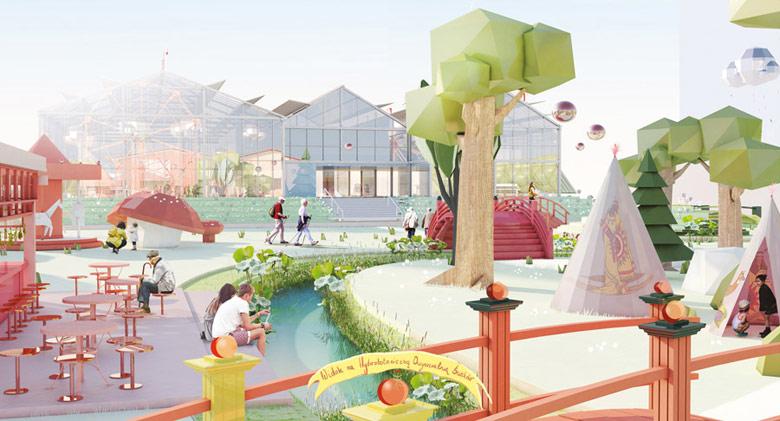 Park rozrywkowo-edukacyjny z hydrobotaniczną oczyszczalnią ścieków na Wyspie Zielonej w Szczecinie. Projekt: Sonia Dubois