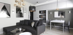 Monochromatyczne mieszkanie w Łodzi projektu INVENTIVE studio