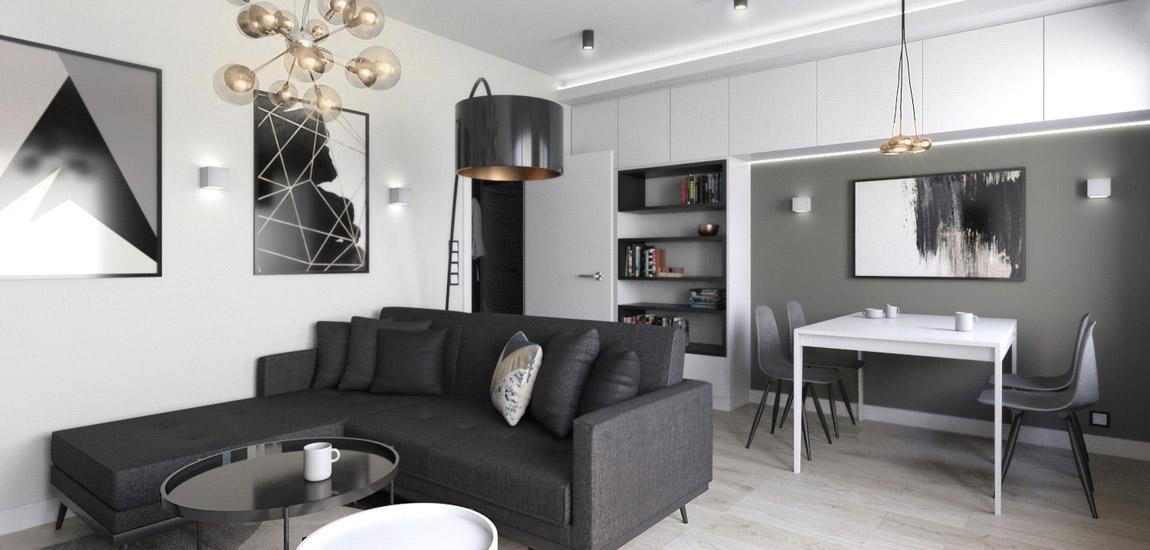 Wnętrza mieszkania w Łodzi. Projekt: INVENTIVE studio
